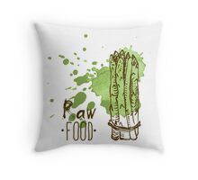 hand drawn vintage illustration of asparagus Throw Pillow