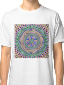 Floral Motif in Pink Green and Blue Classic T-Shirt