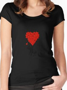 Elephant and red heart balloons Women's Fitted Scoop T-Shirt