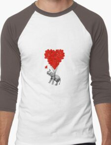Elephant and red heart balloons Men's Baseball ¾ T-Shirt