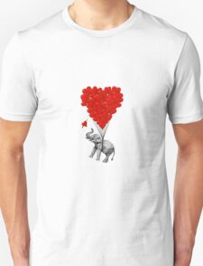 Elephant and red heart balloons Unisex T-Shirt
