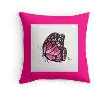 Magenta Border Pink Butterfly Pillow Throw Pillow