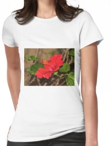 Red Hibiscus Flower Womens Fitted T-Shirt