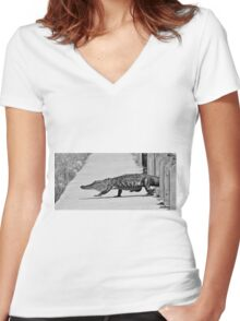 Gator Walking Women's Fitted V-Neck T-Shirt
