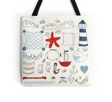 set cute retro sea objects collection. vector illustration Tote Bag