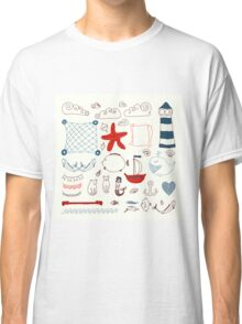 set cute retro sea objects collection. vector illustration Classic T-Shirt