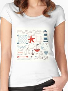 set cute retro sea objects collection. vector illustration Women's Fitted Scoop T-Shirt