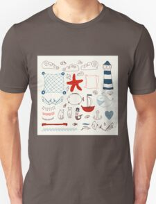 set cute retro sea objects collection. vector illustration Unisex T-Shirt