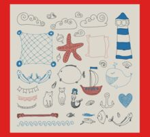 set cute retro sea objects collection. vector illustration Kids Clothes