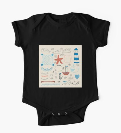 set cute retro sea objects collection. vector illustration One Piece - Short Sleeve