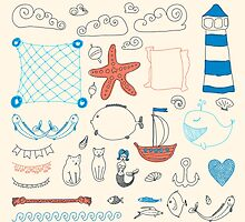 set cute retro sea objects collection. vector illustration by OlgaBerlet