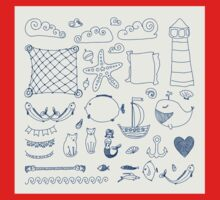 set cute retro sea objects collection. vector illustration One Piece - Long Sleeve