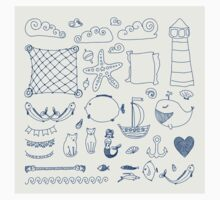 set cute retro sea objects collection. vector illustration Baby Tee
