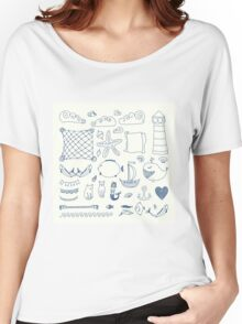 set cute retro sea objects collection. vector illustration Women's Relaxed Fit T-Shirt