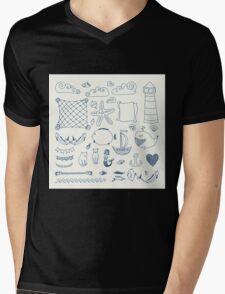 set cute retro sea objects collection. vector illustration Mens V-Neck T-Shirt