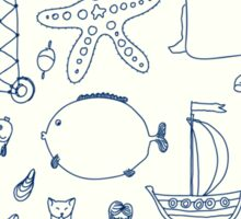 set cute retro sea objects collection. vector illustration Sticker
