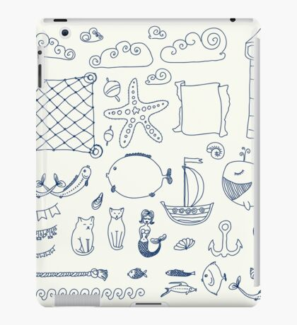set cute retro sea objects collection. vector illustration iPad Case/Skin