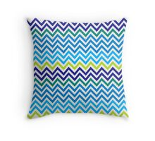 Teal Blue and Lime Green Tone Chevron pattern Throw Pillow