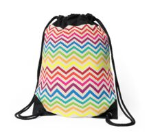 Multi-Colored Rainbow Candy Chevron pattern Drawstring Bag