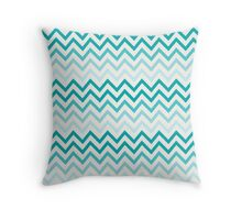 Crystal Teal Blue Water Chevron pattern Throw Pillow
