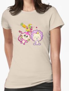Cute baby zoo animal monkey playing maracas and dancing with lion friend Womens Fitted T-Shirt
