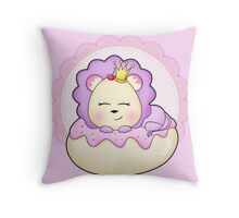 Cute baby animal lion on a pink icing Donut Throw Pillow