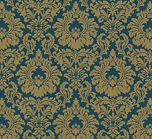 Hollywood Regency Fleur De Lis in Gold & Indigo by Tee Brain Creative