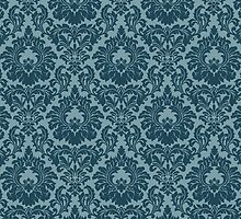 French Provincial Fleur De Lis in Blue by Tee Brain Creative