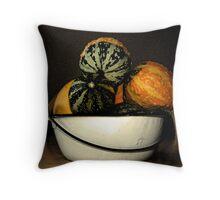 autumn gourds/enamel bowl Throw Pillow