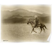Riding in the Desert Antiqued Poster