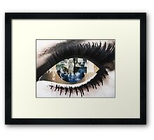 Eye with New York City Reflection Framed Print