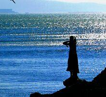 Trieste, Italy - a Statue and a Seagull  by Igor Pozdnyakov
