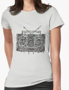 Boom Box Gray Womens Fitted T-Shirt