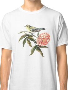Watercolor bird and flower peony Classic T-Shirt