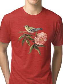 Watercolor bird and flower peony Tri-blend T-Shirt