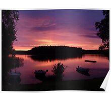 Swedish lake at sunset Poster