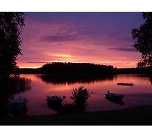 Swedish lake at sunset Photographic Print