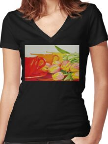 Cups and tulips Women's Fitted V-Neck T-Shirt