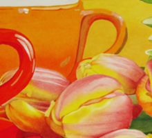 Cups and tulips Sticker