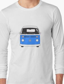 Late Bay VW Camper Mid-Blue Front Long Sleeve T-Shirt