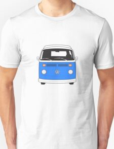 Late Bay VW Camper Mid-Blue Front T-Shirt