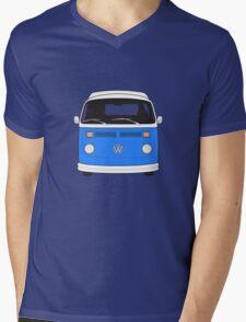 Late Bay VW Camper Mid-Blue Front Mens V-Neck T-Shirt