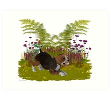 April Puppy .. playing in the garden Art Print