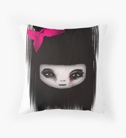 little scary doll Throw Pillow