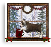 December Puppy .. a christmas tale Canvas Print