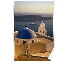Greek Church with Cruise Ship at Sea, Santorini (Greece) Poster