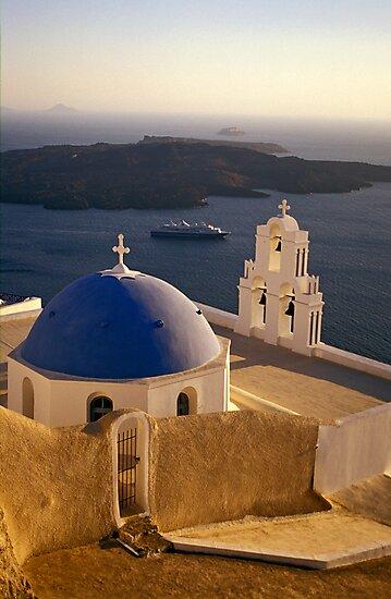 Greek Church with Cruise Ship at Sea, Santorini (Greece) by Petr Svarc