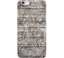 Boho white floral paisley rustic brown stripe wood  iPhone Case/Skin