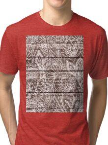 Boho white floral paisley rustic brown stripe wood  Tri-blend T-Shirt