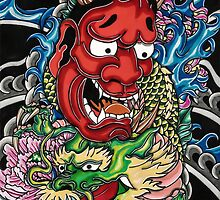 Hannya mask and Japanese dragon by Adam  Parsons